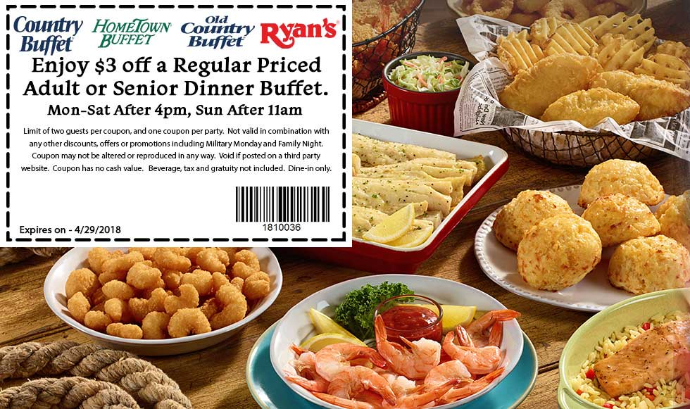 HometownBuffet.com Promo Coupon $3 off dinner at Ryans, HomeTown Buffet & Old Country Buffet