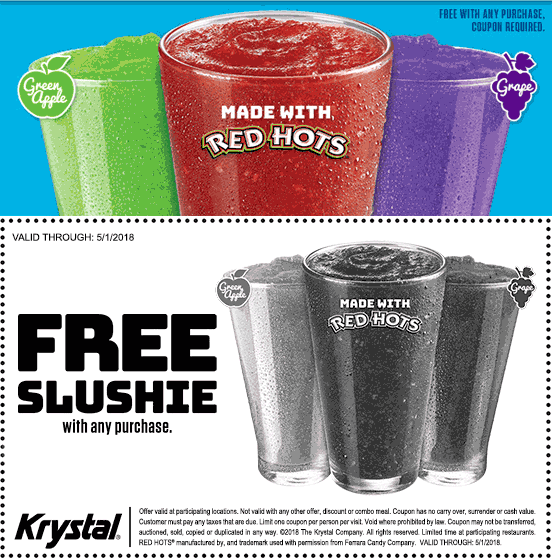 Krystal Coupon December 2018 Free slushie with any order at Krystal restaurants