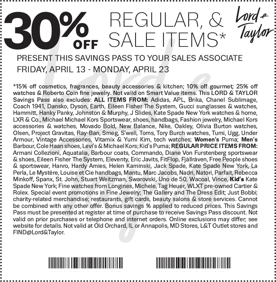 Lord&Taylor.com Promo Coupon 30% off at Lord & Taylor, or online via promo code FRIENDS