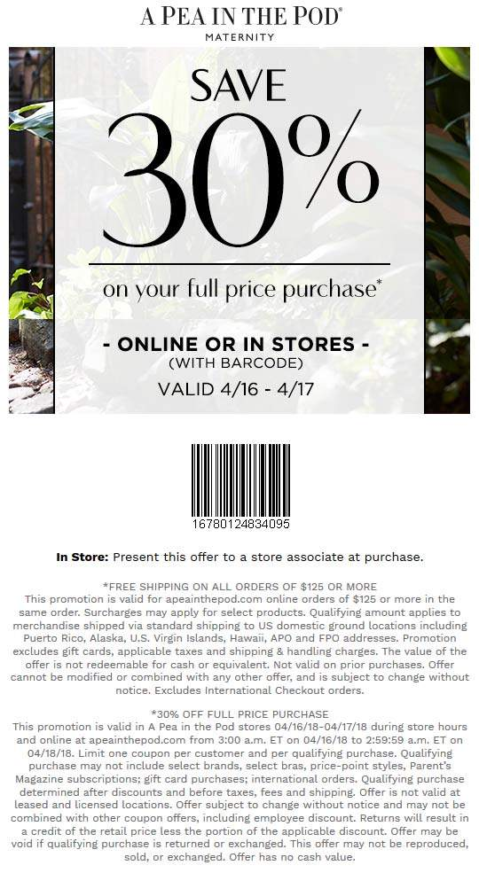 APeainthePod.com Promo Coupon 30% off today at A Pea in the Pod maternity, ditto online