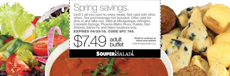 Souper Salad Coupon August 2018 $7.49 bottomless meals at Souper Salad restaurants