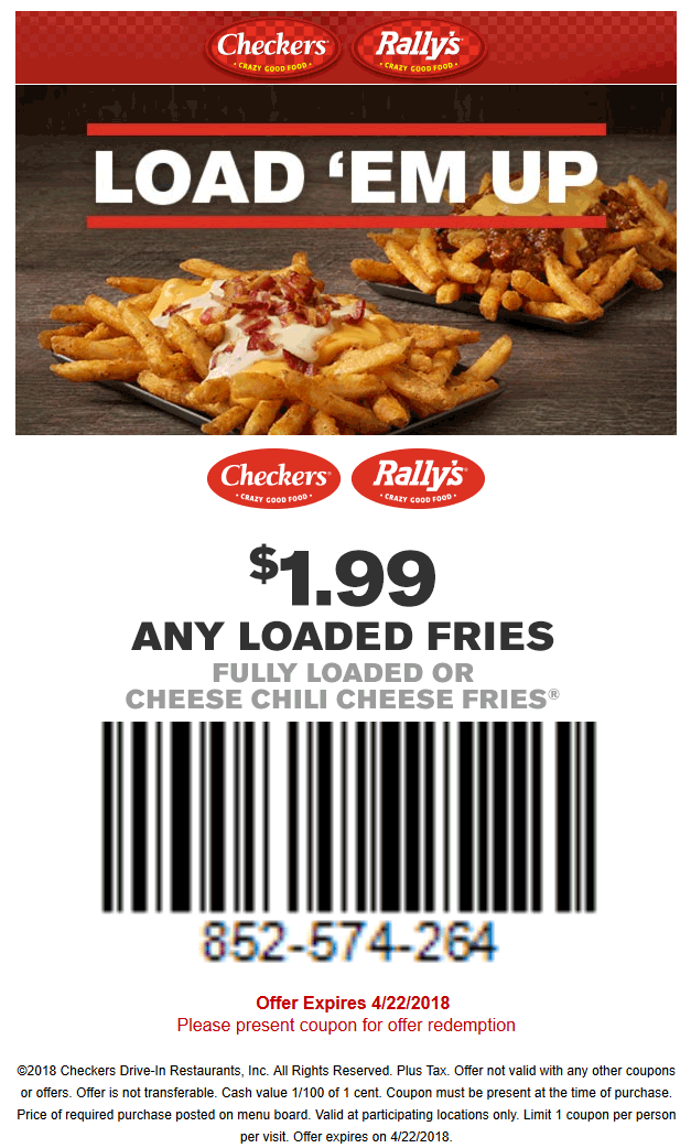 Checkers.com Promo Coupon $2 chili cheese fries at Checkers & Rallys restaurants