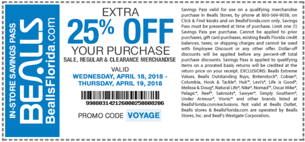 Bealls.com Promo Coupon Extra 25% off today at Bealls, or online via promo code VOYAGE