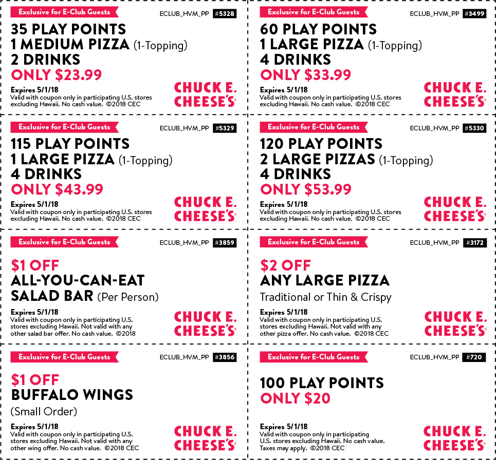 Chuck E. Cheese Coupon March 2019 35 play points + pizza + drinks = $24 & more at Chuck E. Cheese