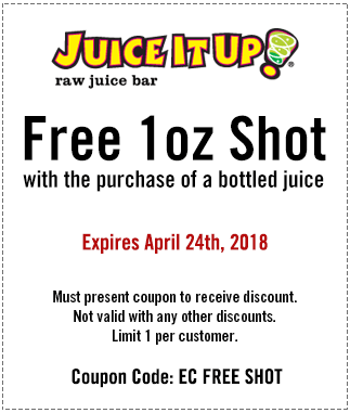 Juice It Up Coupon June 2018 Free shot with your bottled juice at Juice It Up