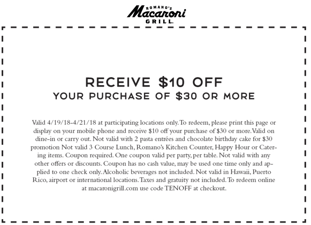 Macaroni Grill Coupon March 2019 $10 off $30 at Macaroni Grill restaurants