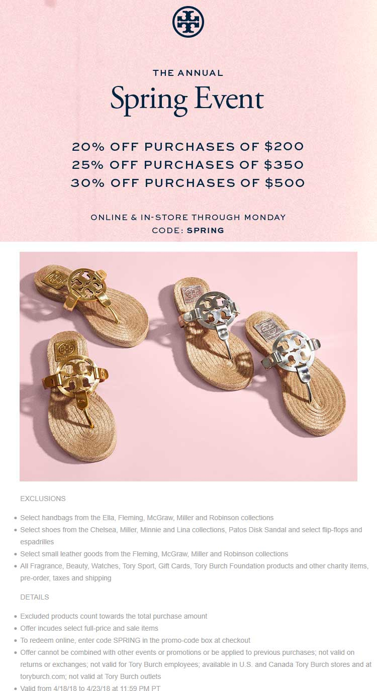 Tory Burch Coupon August 2018 20-30% off $200+ at Tory Burch, or online via promo code SPRING