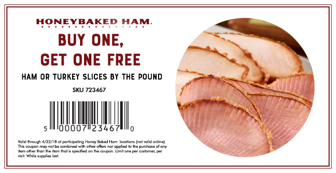 HoneyBaked.com Promo Coupon Second pound of slices free at HoneyBaked ham restaurants