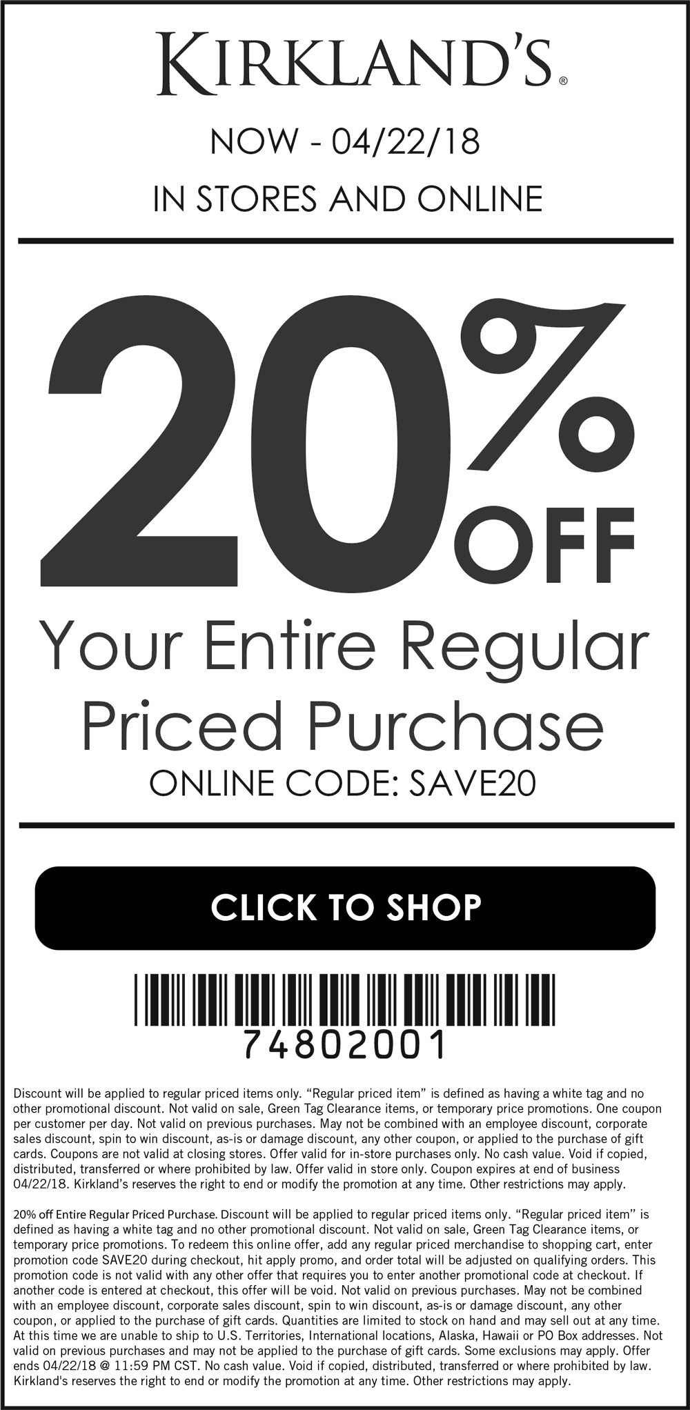 Kirklands Coupon May 2018 20% off at Kirklands, or online via promo code SAVE20