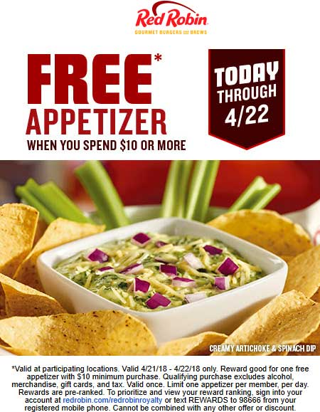 RedRobin.com Promo Coupon Free appetizer with $10 spent at Red Robin