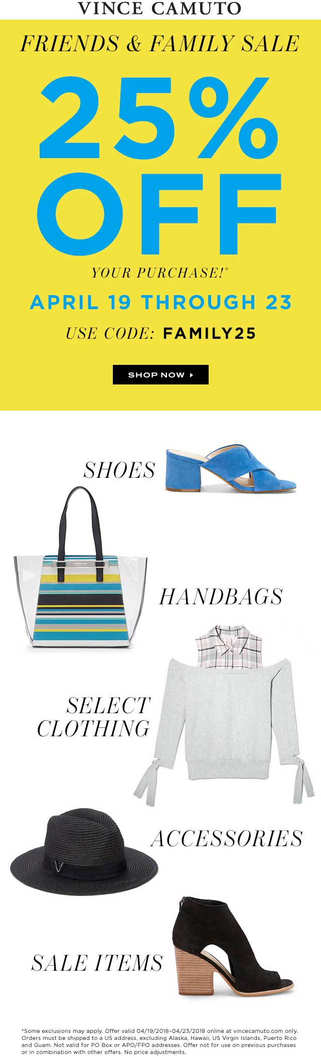 Vince Camuto Coupon August 2018 25% off at Vince Camuto, or online via promo code FAMILY25