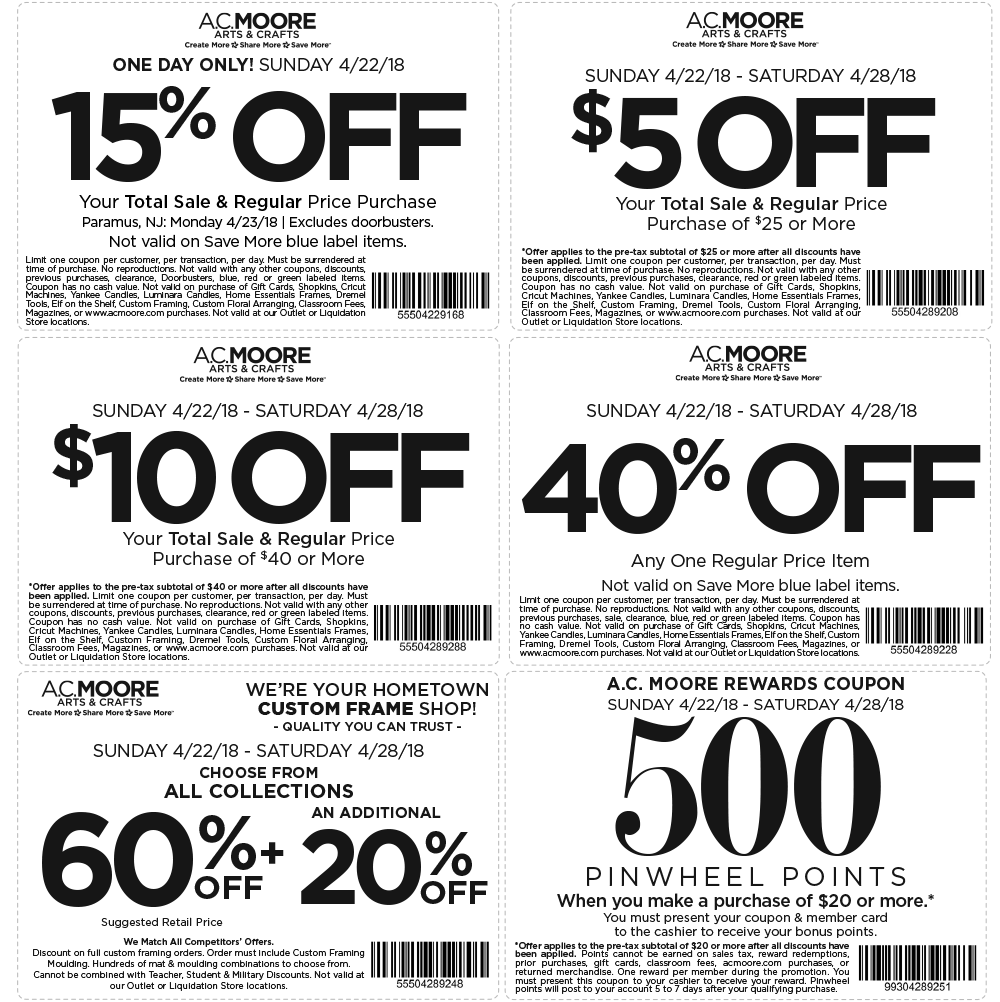A.C. Moore Coupon March 2019 40% off & more at A.C. Moore