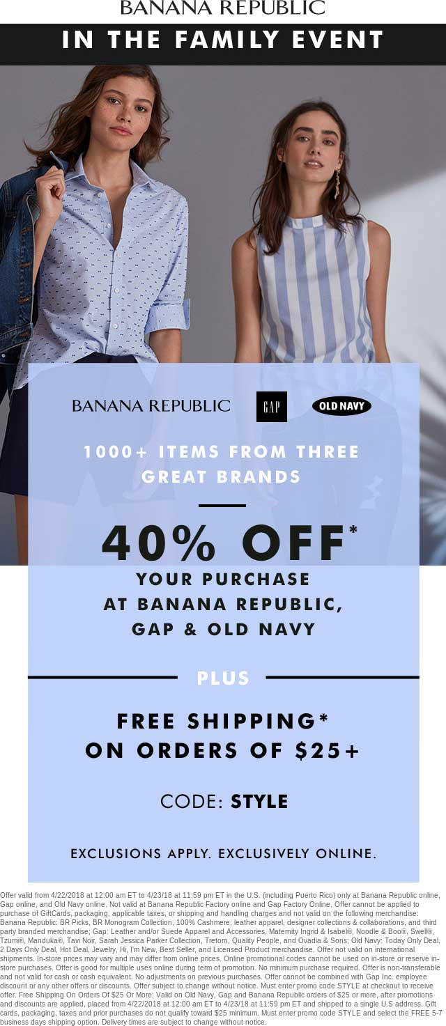 OldNavy.com Promo Coupon 40% off online at Gap, Old Navy & Banana Republic via promo code STYLE