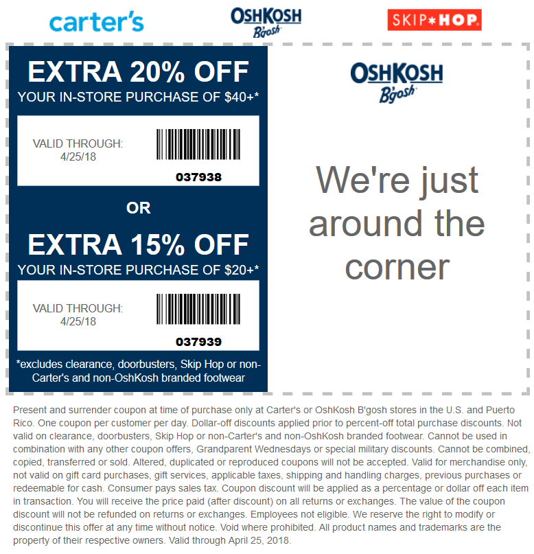 OshKosh Bgosh Coupon August 2018 15-20% off $20+ at OshKosh Bgosh
