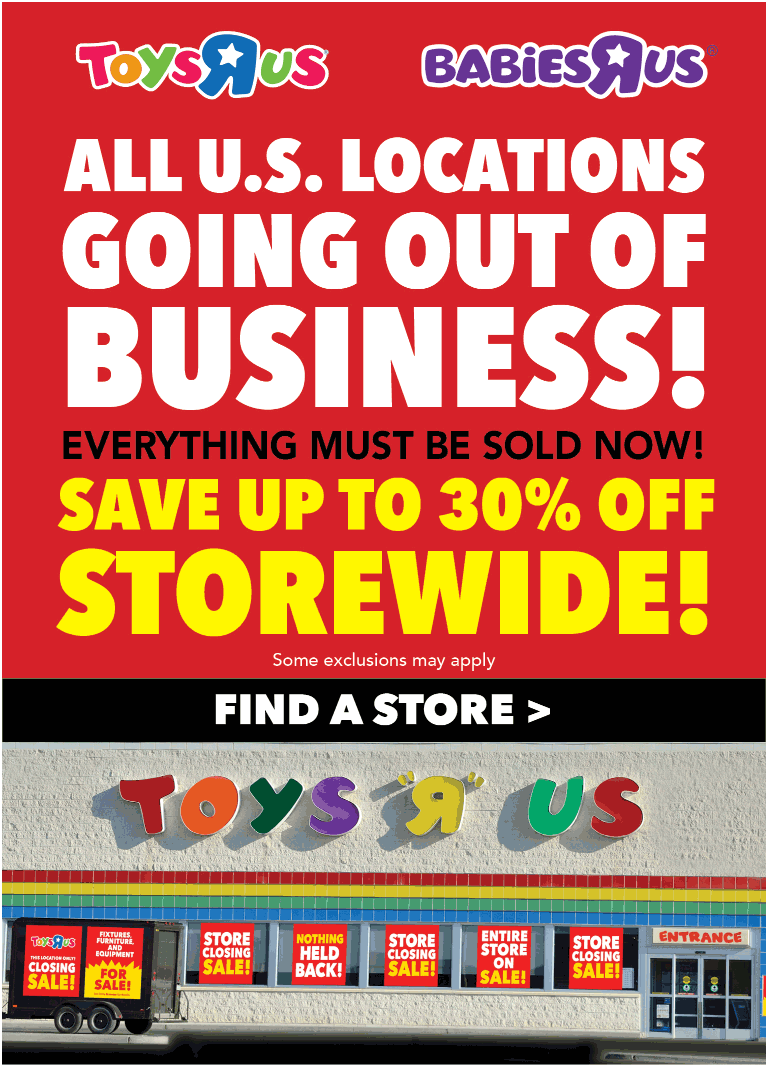 Toys R Us Coupon April 2019 30% off going out-of-business sale going on at Toys R Us & Babies R Us