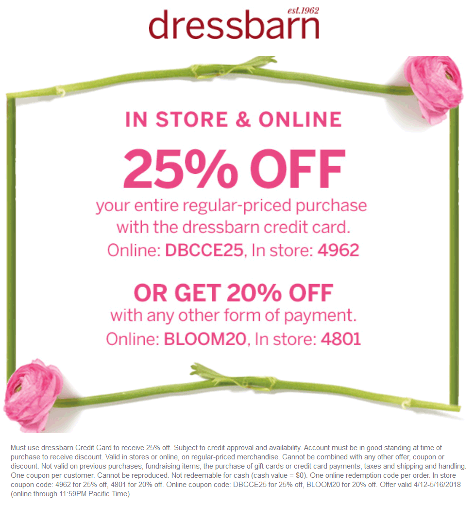 Dressbarn.com Promo Coupon 20% off at Dressbarn, or online via promo code BLOOM20