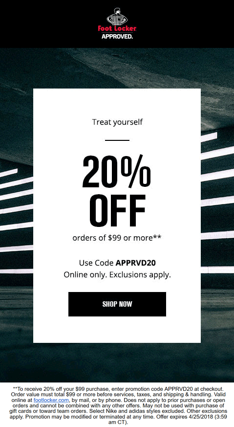 picture about Foot Locker Printable Coupons called Foot Locker Discount coupons - 20% off $99 on the internet at Foot Locker by way of