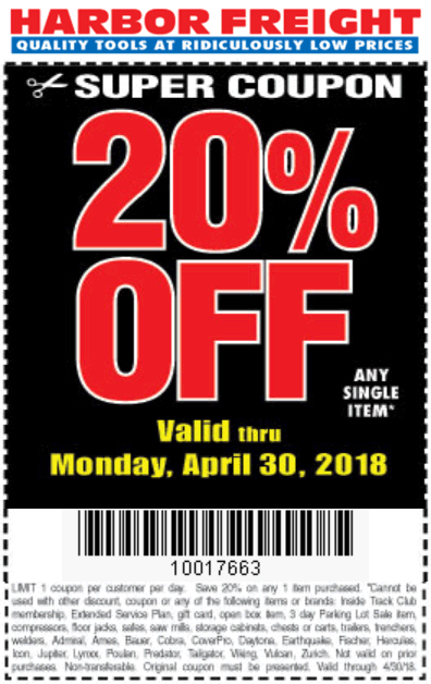 Harbor Freight Coupon August 2018 20% off a single item at Harbor Freight Tools