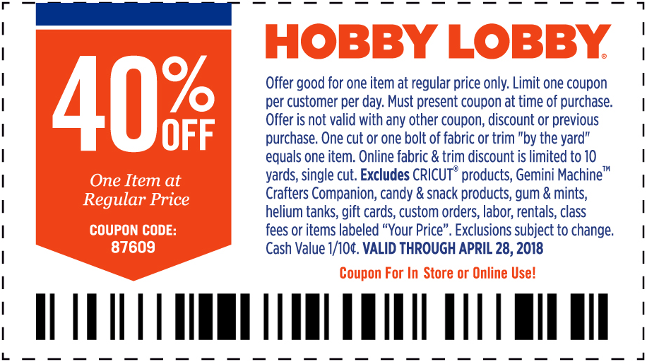 HobbyLobby.com Promo Coupon 40% off a single item at Hobby Lobby, or online via promo code 87609