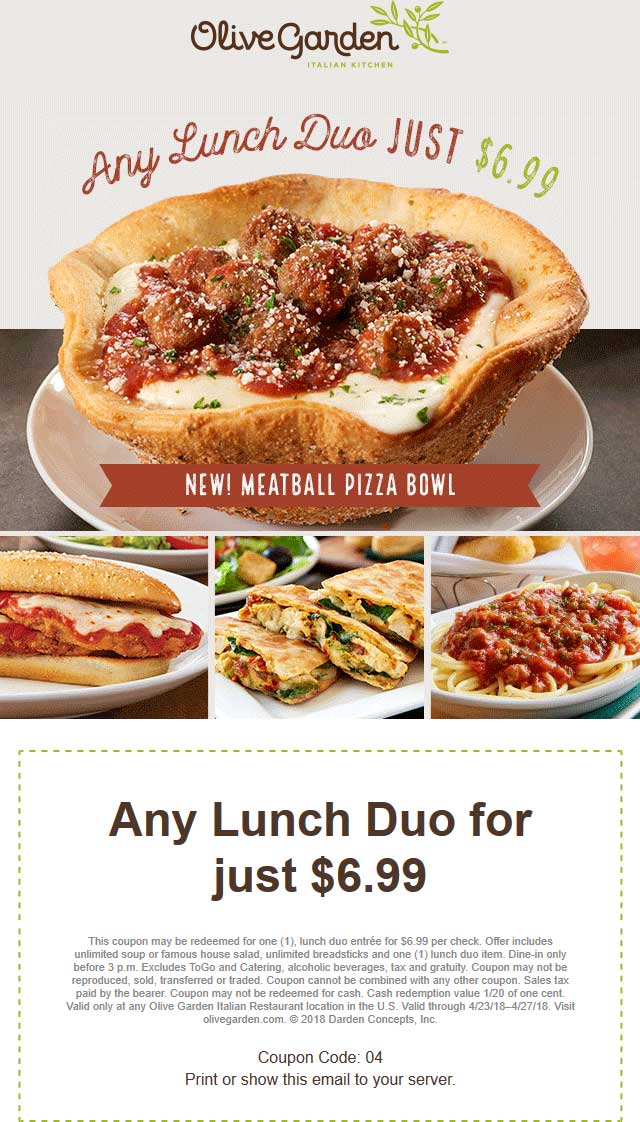Olive Garden Coupon March 2019 Lunch duo + soup or sald + breadsticks = $6.99 at Olive Garden
