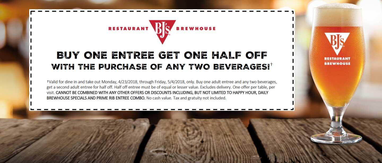 BJsRestaurant.com Promo Coupon Second entree 50% off at BJs Restaurant brewhouse
