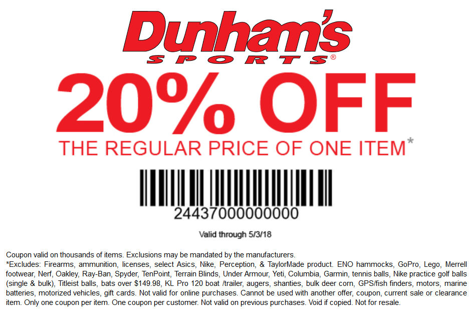 Dunhams Sports Coupon August 2018 20% off a single item at Dunhams Sports
