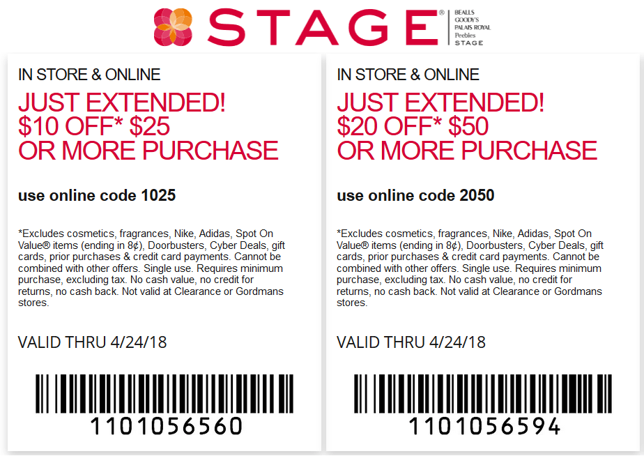 Stage.com Promo Coupon $10 off $25 & more today at Stage, or online via promo code 1025