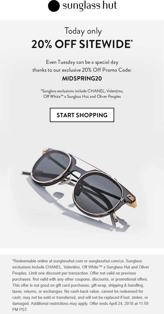 image about Sunglass Hut Printable Coupons known as Sungl Hut Coupon codes - 20% off almost everything on the web at Sungl