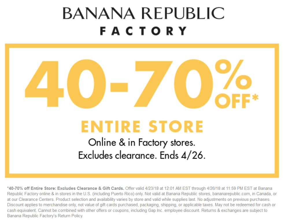 Banana Republic Factory Coupon August 2018 40-70% off at Banana Republic Factory, ditto online