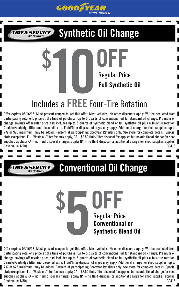Goodyear.com Promo Coupon $5-$10 off an oil change at Goodyear