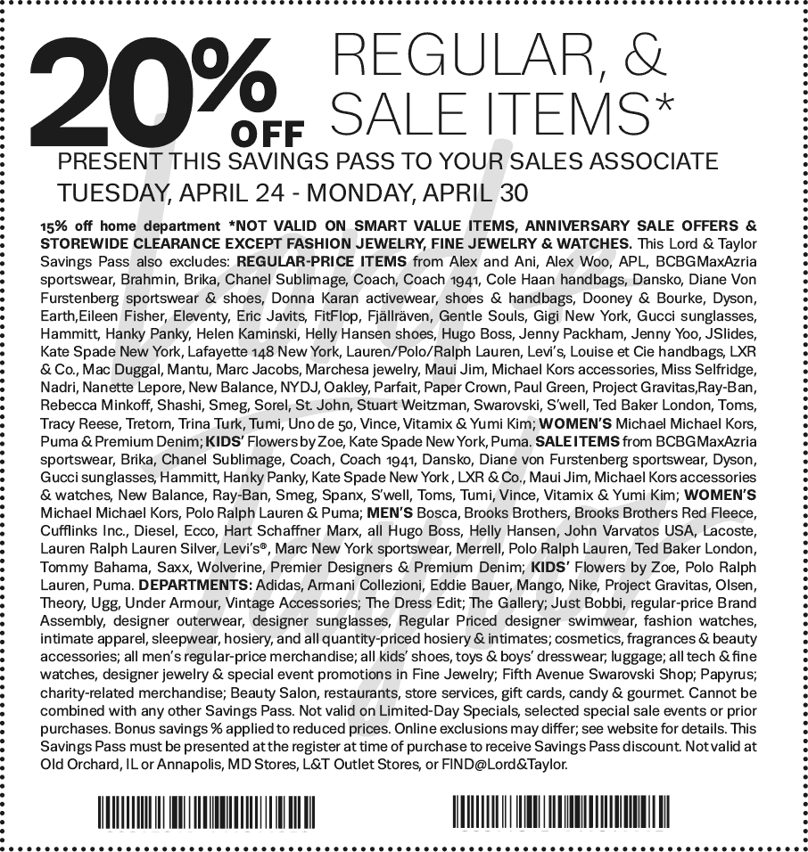 Lord&Taylor.com Promo Coupon 20% off at Lord & Taylor, or online via promo code LTDAYS
