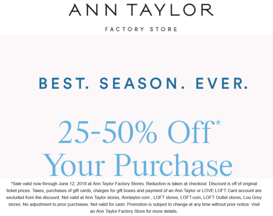 AnnTaylorFactory.com Promo Coupon 25-50% off at Ann Taylor Factory