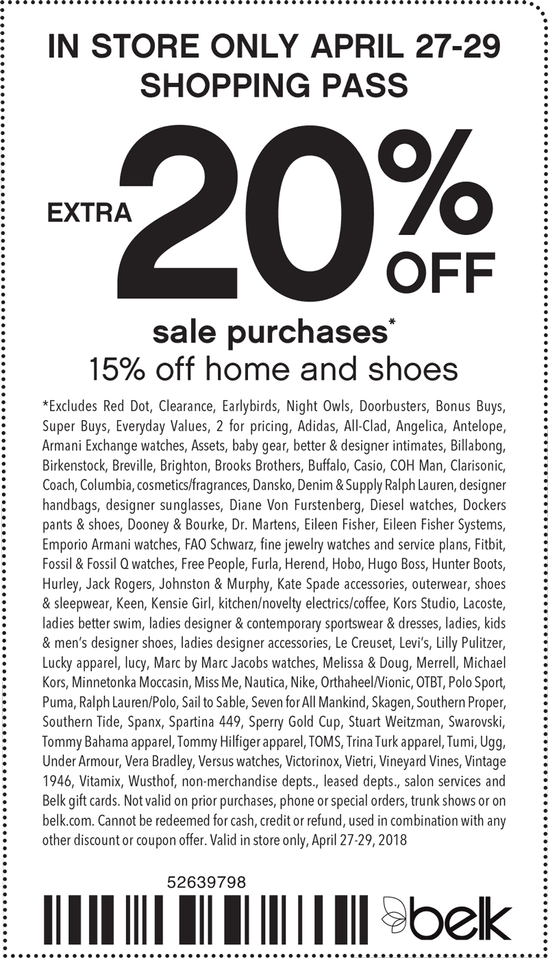 Belk Coupon August 2018 Extra 20% off sale items at Belk