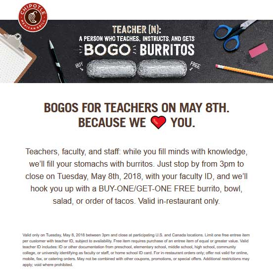 Chipotle.com Promo Coupon Teachers enjoy a second burrito free the 8th at Chipotle restaurants