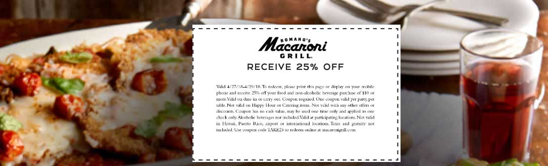 Macaroni Grill Coupon December 2018 25% off today at Macaroni Grill restaurants