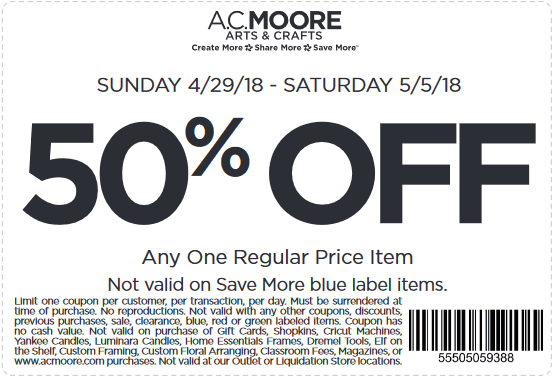 A.C. Moore Coupon December 2018 50% off a single item at A.C. Moore