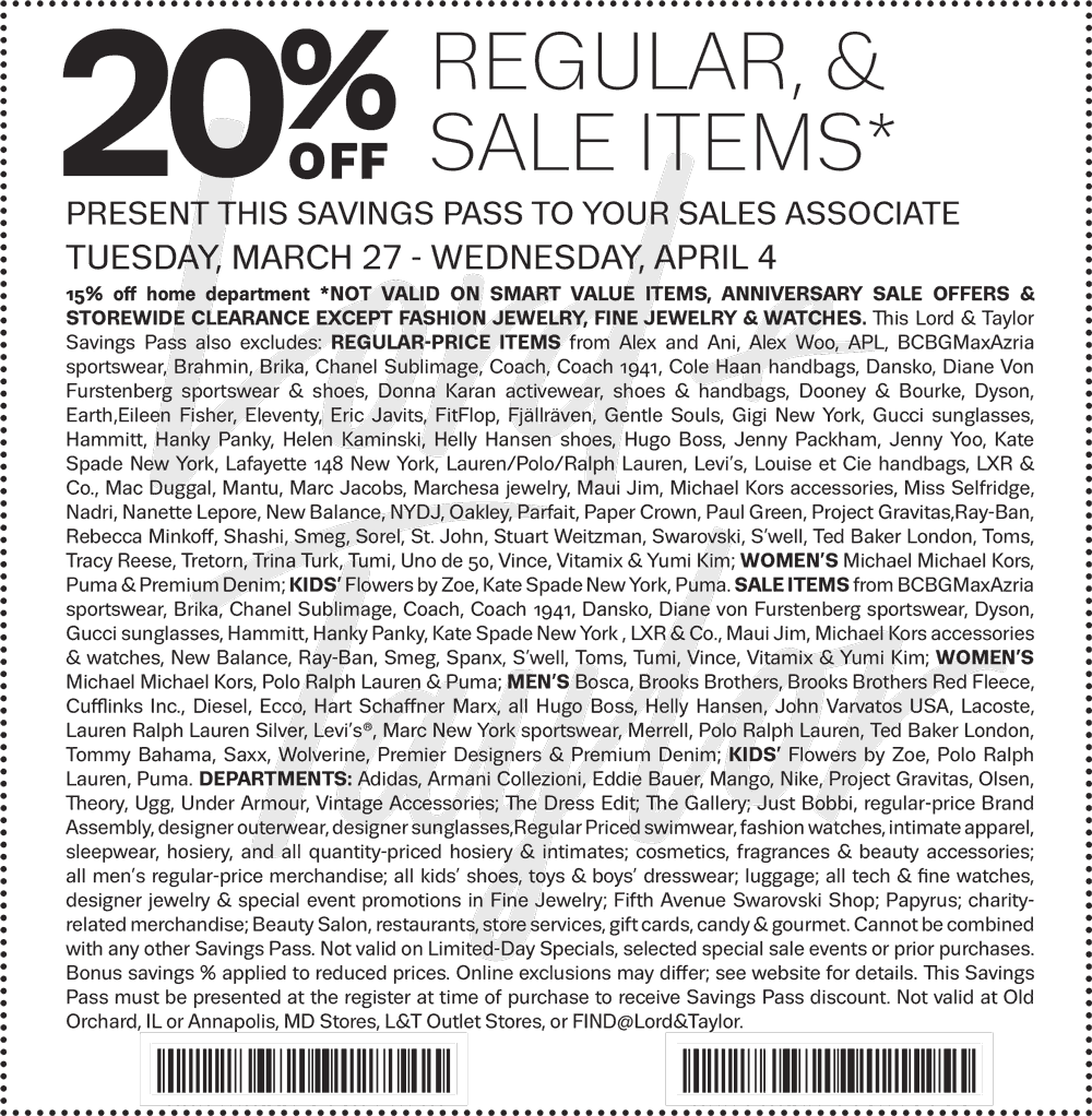 Lord & Taylor Coupon October 2018 20% off at Lord & Taylor, or online via promo code ANNIVERSARY