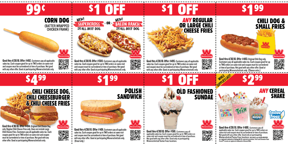 Wienerschnitzel Coupon October 2018 Chili dog + fries = $2 & more at Wienerschnitzel restaurants