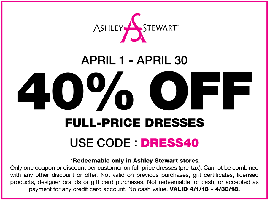 Ashley Stewart Coupon March 2019 40% off dresses at Ashley Stewart
