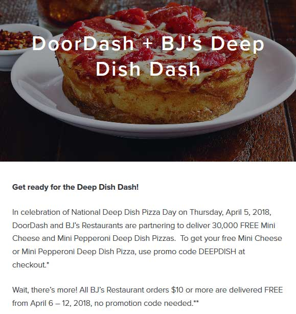 BJs Restaurant Coupon March 2019 Free mini deep dish pizza delivered Thursday via BJs Restaurant and promo code DEEPDISH