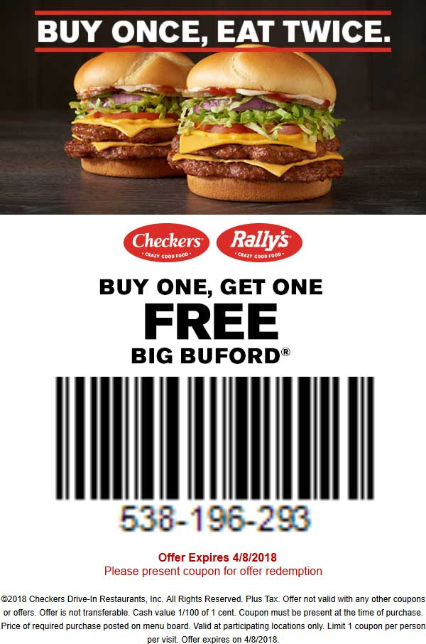 Checkers Coupon October 2018 Second double cheeseburger free at Checkers & Rallys
