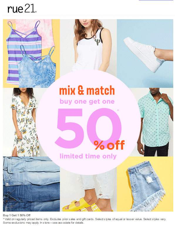 Rue21.com Promo Coupon Second item 50% off at rue21, ditto online