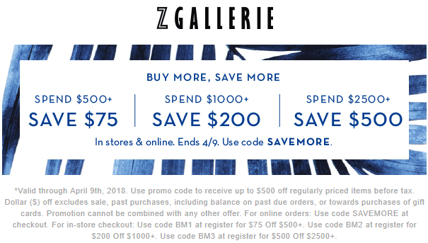 Z Gallerie Coupon August 2018 $75-$500 off $500+ at Z Gallerie, or online via promo code SAVEMORE