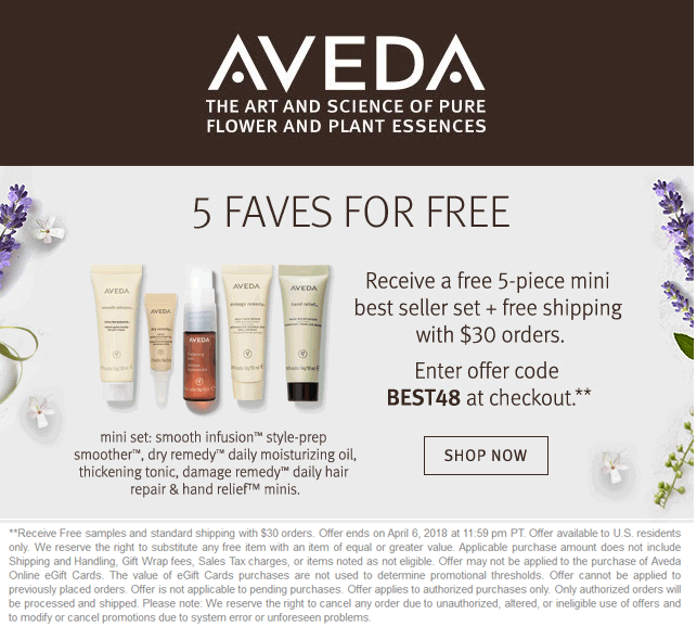 Aveda.com Promo Coupon 5pc set free with $30 spent online at Aveda via promo code BEST48