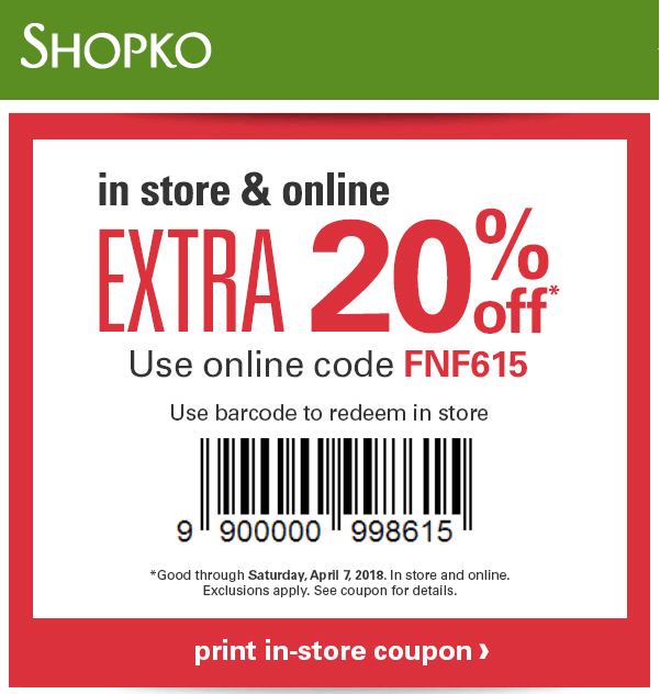 Shopko Coupon April 2019 Extra 20% off at Shopko, or online via promo code FNF615