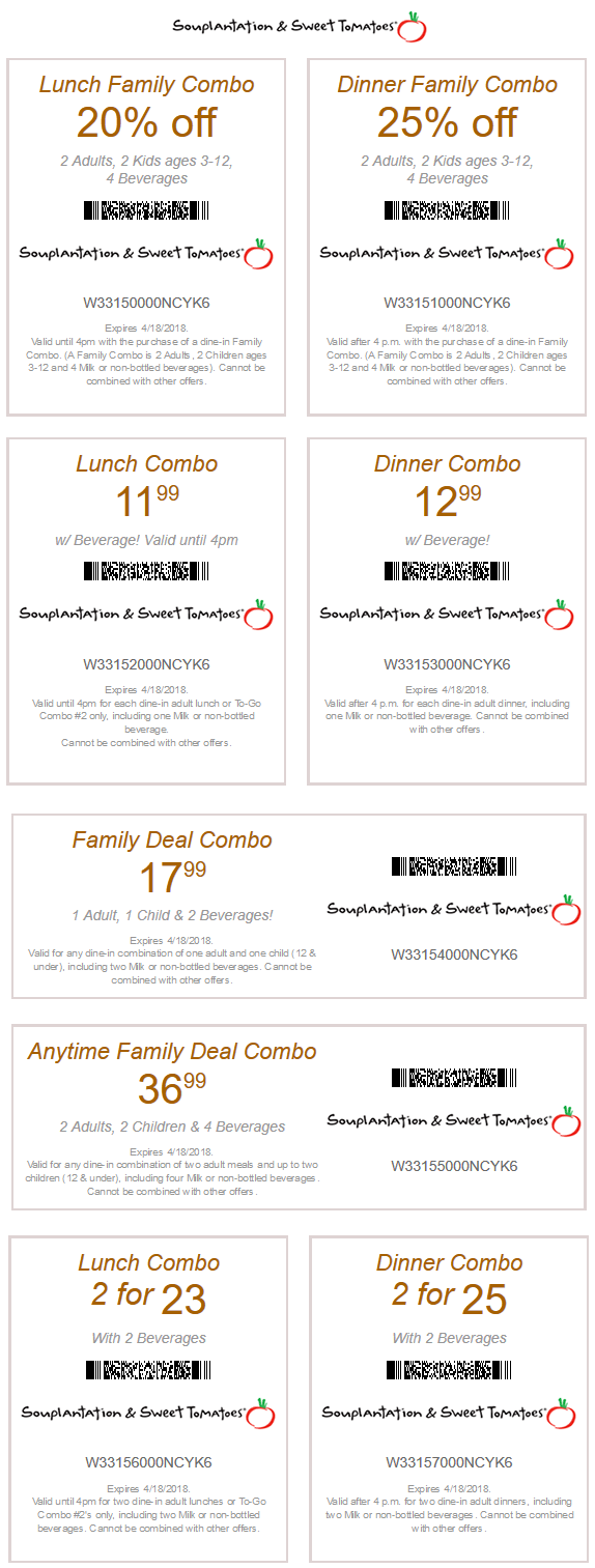 Sweet Tomatoes Coupon December 2018 20% off lunch, 25% off dinner at Souplantation & Sweet Tomatoes