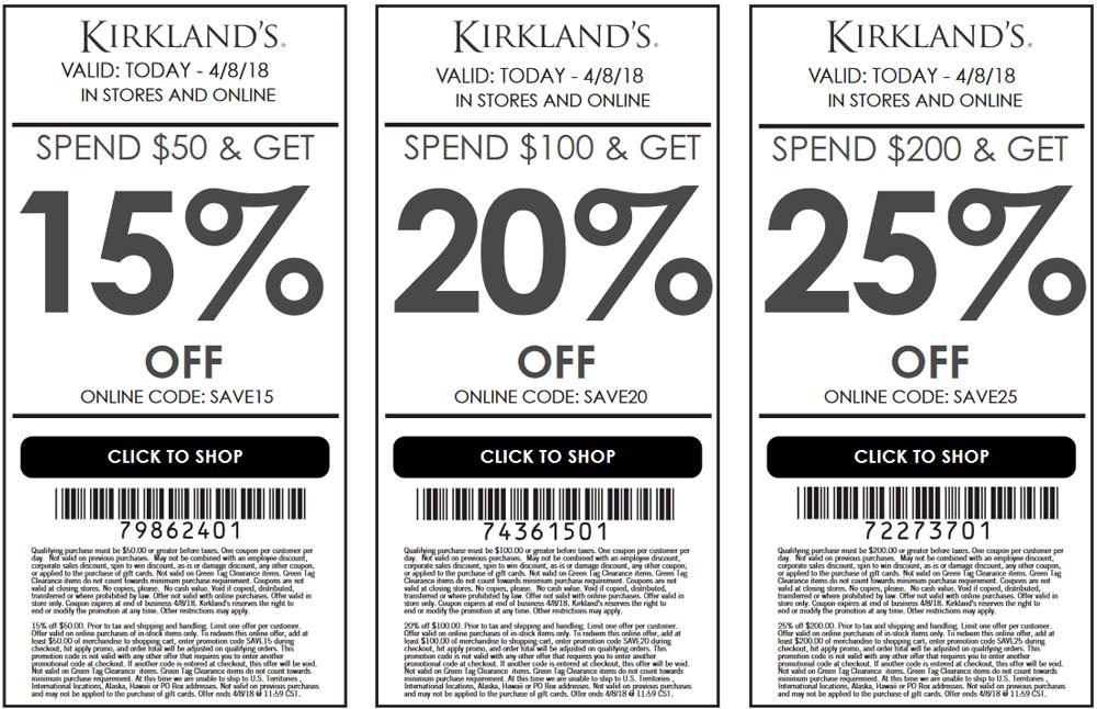 Kirklands Coupon December 2018 15-25% off at Kirklands, or online via promo code SAVE15