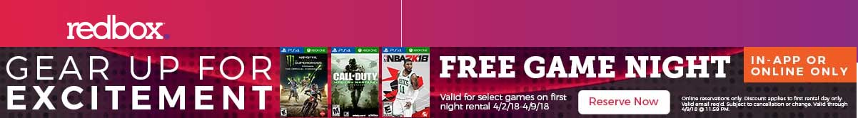 Redbox.com Promo Coupon Free game rental online at Redbox