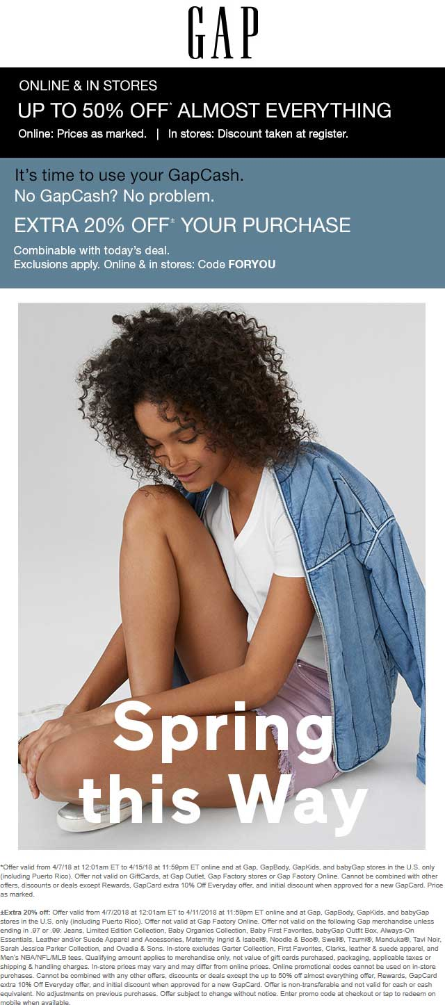 Gap Coupon December 2018 Extra 20% off at Gap, or online via promo code FORYOU