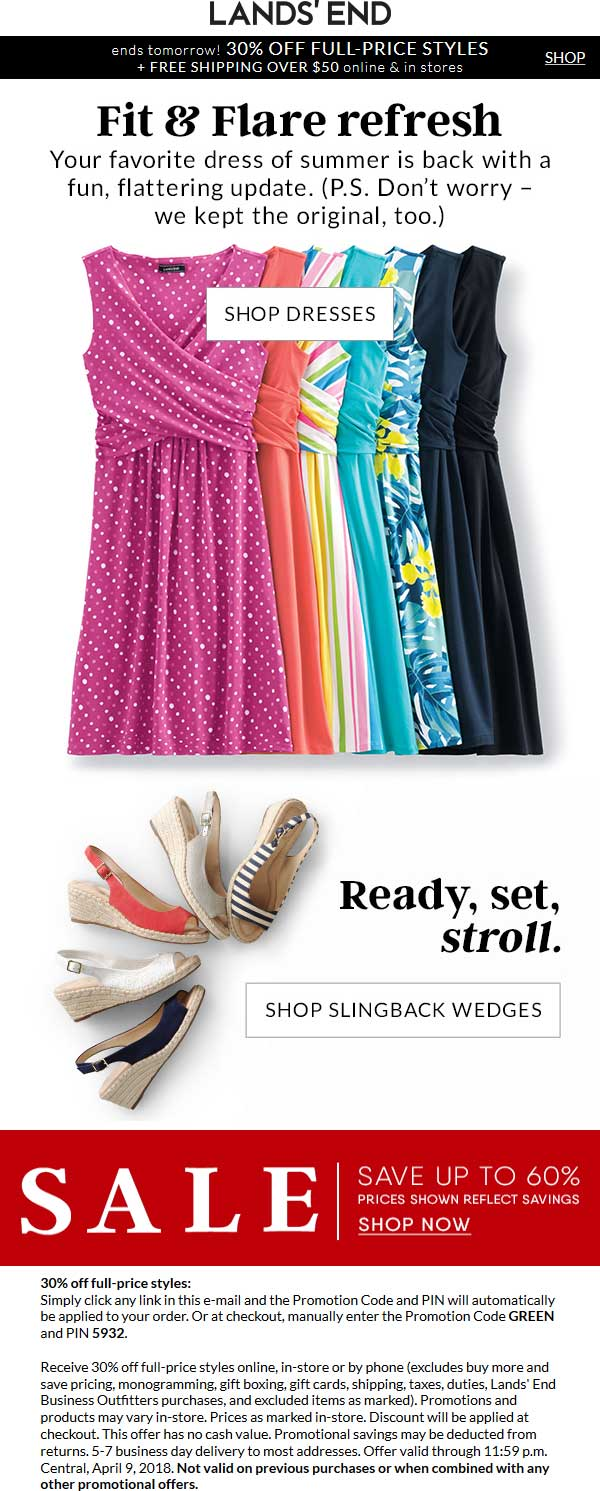 Lands End Coupon August 2018 30% off at Lands End, or online via promo code GREEN and pin 5932